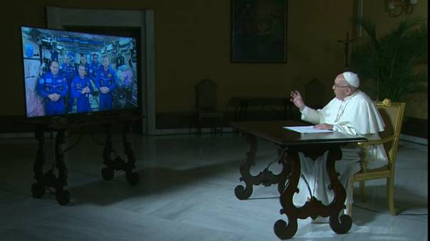 Pope Francis asks ISS astronauts about 'man's place in the universe'
