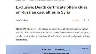 شهادة وفاة تكشف الخسائر الروسية في سوريا