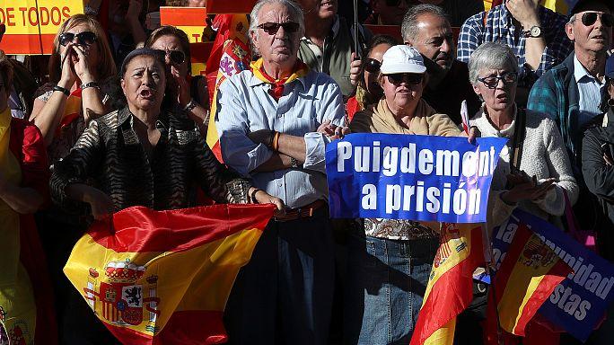 Madrid'de birlik yanlıları gösteri düzenledi