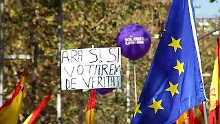 A spanyol egység mellett tüntettek Barcelonában