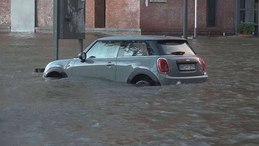 فيضانات في مدينة هامبورغ الألمانية