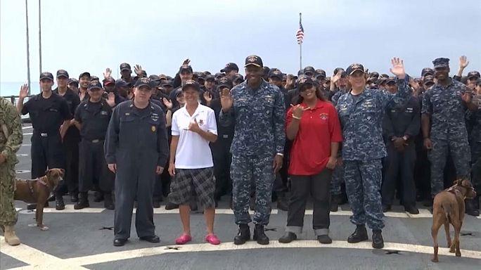 """Les """"rescapées du Pacifique"""" mettent pied à terre"""
