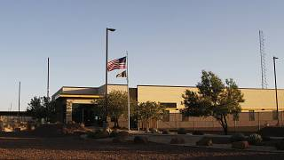 Image: The entrance of a Border Patrol station in Clint, Texas