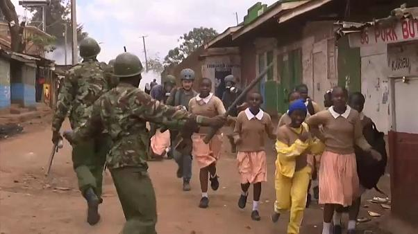 School children caught in tear gas at Nairobi protest