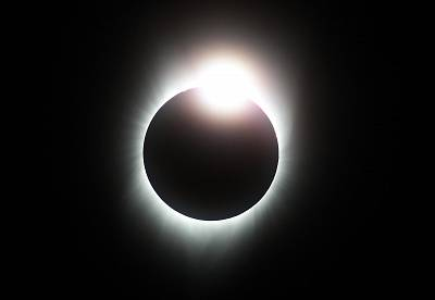 "A total eclipse with the ""diamond ring"" effect is seen from South Mike Sedar Park on Aug. 21, 2017 in Casper, Wyoming."
