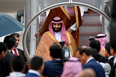 Saudi Arabia\'s Crown Prince Mohammed bin Salman arrives ahead of the G20 Osaka Summit in Japan on June 27, 2019.