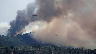 Image: Helicopters drop water over a forest fire during a heatwave near Bov