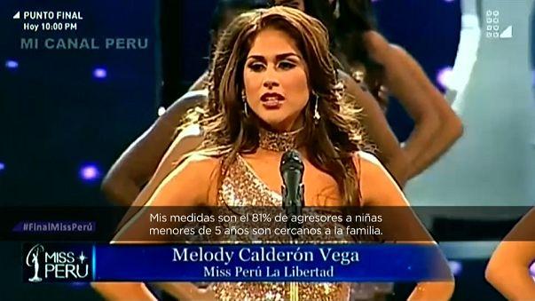 Las candidatas de Miss Perú aprovechan el escenario para denunciar la violencia machista