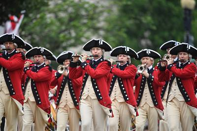 The U.S. Army Old Guard Fife and Drum Corps marches in the Independence Day parade in Washington, D.C., on July 3, 2016.