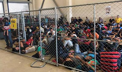 Overcrowding of families observed by Department of Homeland Security Office of Inspector General on June 10, 2019, at Border Patrol\'s McAllen, Texas station.