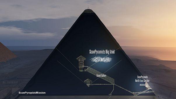 Hatalmas üreget találtak a gízai piramisban