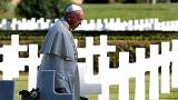 Anti-war plea from Pope as he prays for WW2 victims