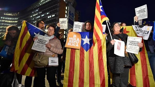 Каталонцы протестуют в Брюсселе