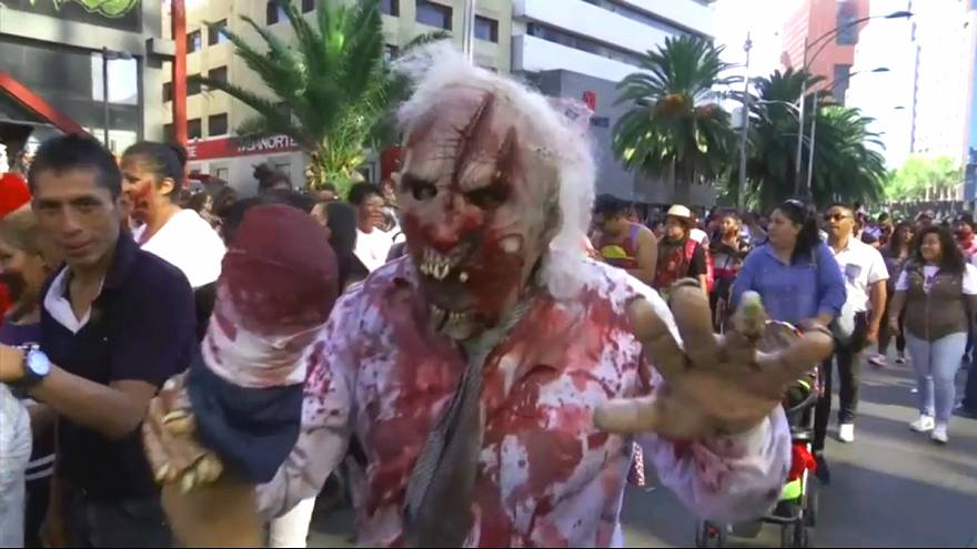 Mexico City's zombie walk attracts tens of thousands