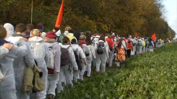 Activists enter the grounds of a brown coal mine near Bonn