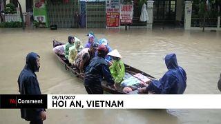 Cidade património da UNESCO inundada pelo tufão Damrey