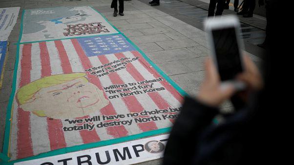 Trump provoca manifestações de apoio e reprovação na Coreia do Sul