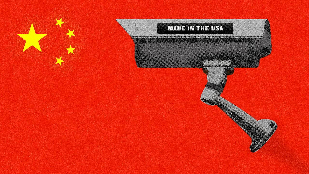Illustration of surveillance camera with Made in America sticker on a Chine
