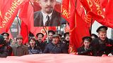 Russian communists celebrate Bolshevik Revolution