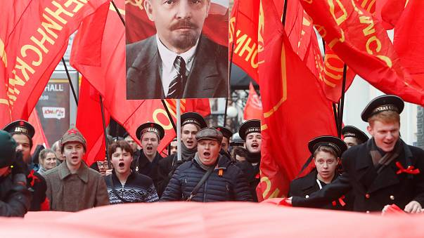 Russian communists celebrate Bolshevik Revolution