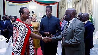 Two months after picking 14th wife, Swazi King visits Zambia with wife number 13