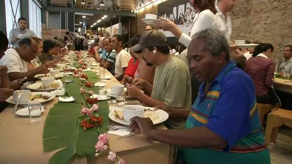 Famous chefs cook for Rio's homeless