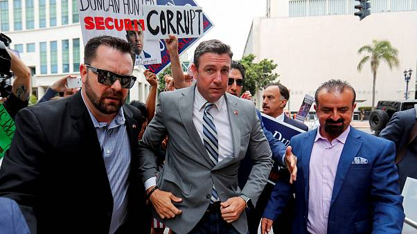Image: Rep. Duncan Hunter, R-Calif., arrives for a hearing for his upcoming