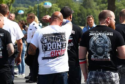 Visitors to a Neo-Nazi music festival arrive in Themar, in Germany\'s east on July 5.