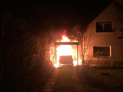 Ferat Kocak\'s car burns next to his parents\' home in Berlin, Germany in January 2018.