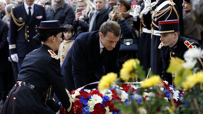 Macron Paris'teki anma törenine katıldı