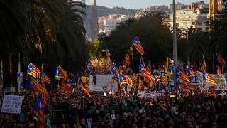 Catalan pro-independence supporters march in Barcelona