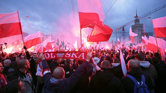 Polonya'da bölünmüş bağımsızlık kutlamaları