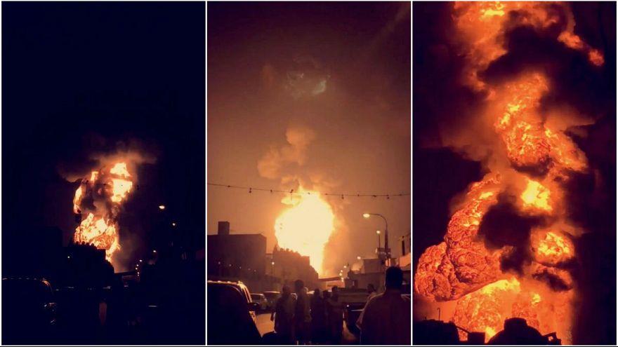 شاهد: انفجار خط أنابيب نفط بالبحرين