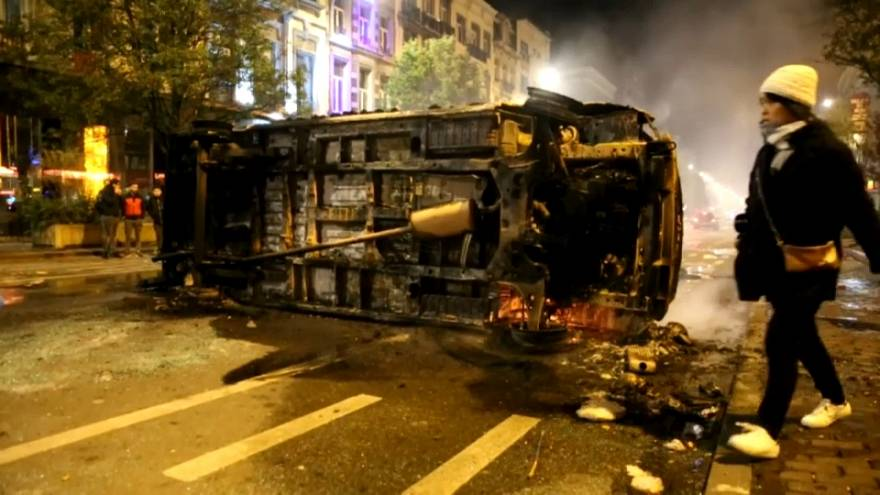 Moroccan football fans riot in Brussels after country's World Cup qualification