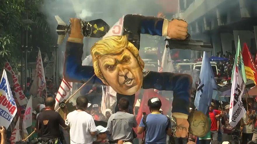 Swastika-shaped Trump effigy set on fire in Manila
