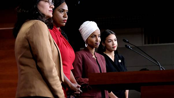 Image: Representatives Rashida Tlaib, Ayanna Pressley, Ilhan Omar, and Alex