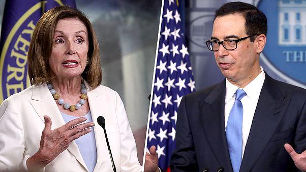 Speaker of the House Nancy Pelosi, D-Calif., and Treasury Secretary Steven