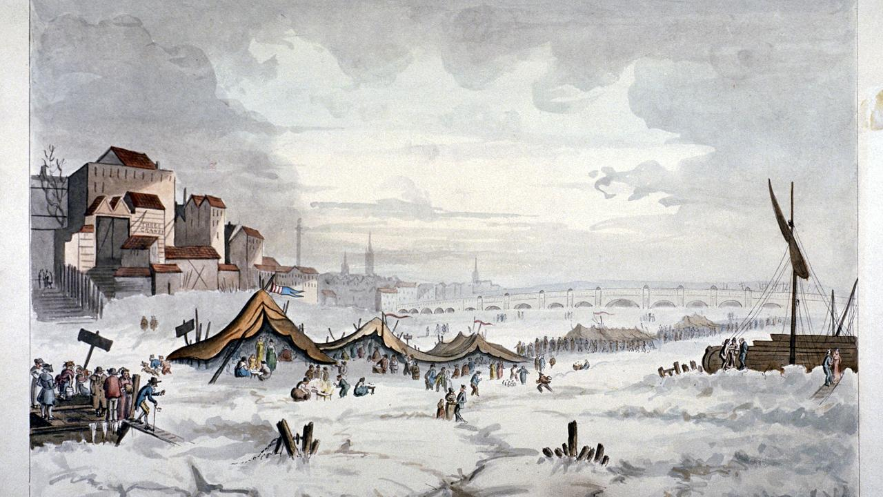 """A painting of """"frost fair"""" on the frozen River Thames in London in 1814 dur"""
