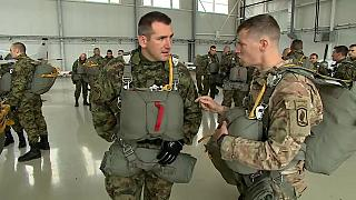 Serbian & US paratroopers train together