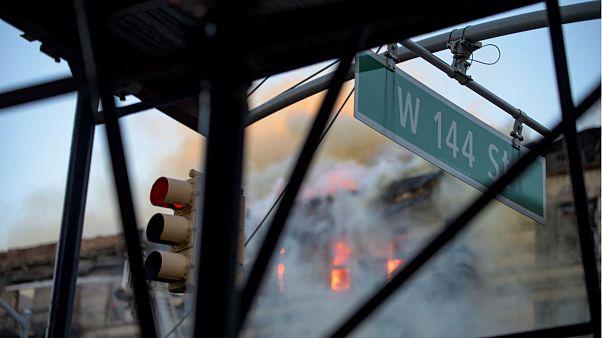 Firefighters tackle Harlem blaze