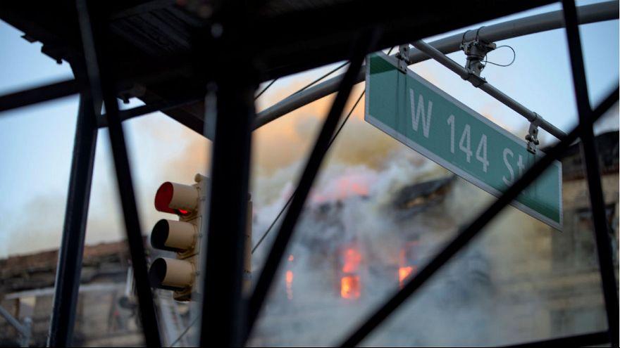 Крупный пожар в Нью-Йорке