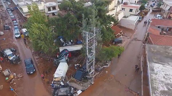 Grecia, Mandra ripresa da un drone dopo le inondazioni