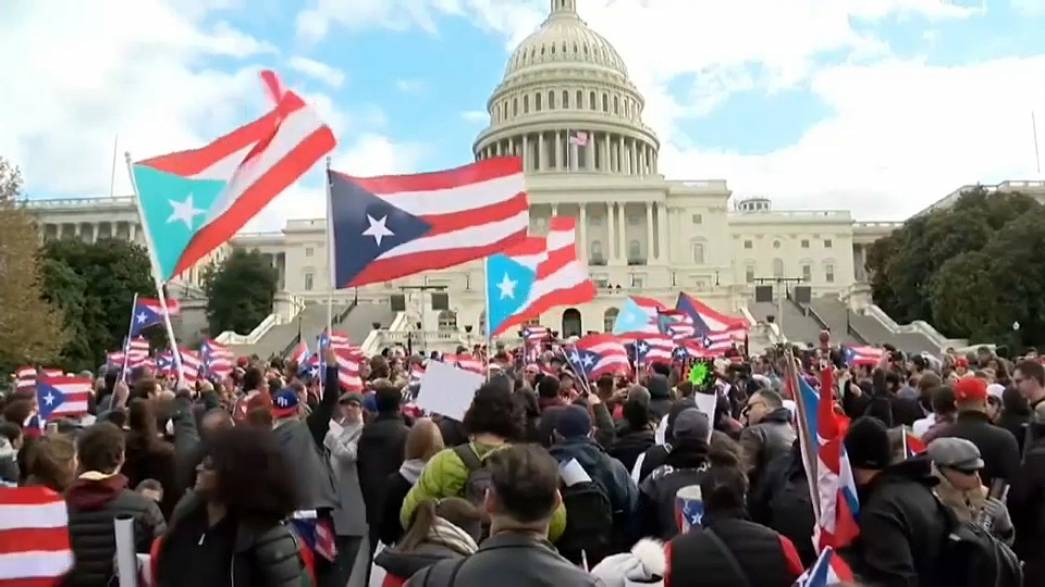 Puerto Ricans protest in Washington at size of hurricane aid package