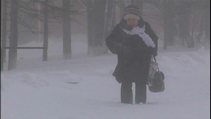 Schneestürme im Osten Russlands