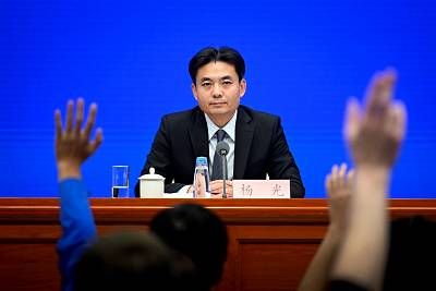 Yang Guang, spokesperson for China\'s Hong Kong and Macao Affairs Office, answers questions on Monday.