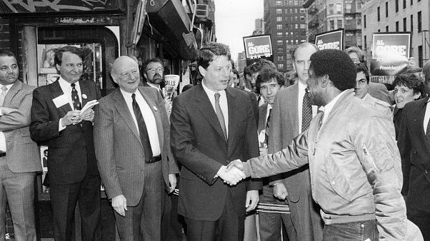 Image: New York City Mayor Ed Koch and Democratic presidential candidate Al