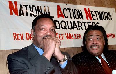 Rev. Jesse Jackson and Rev. Al Sharpton attend a press conference at the National Action Network headquarters in Harlem, New York, on April 14, 1999. Sharpton admired Jackson, but Jackson refused to endorse Sharpton for president in 2000.