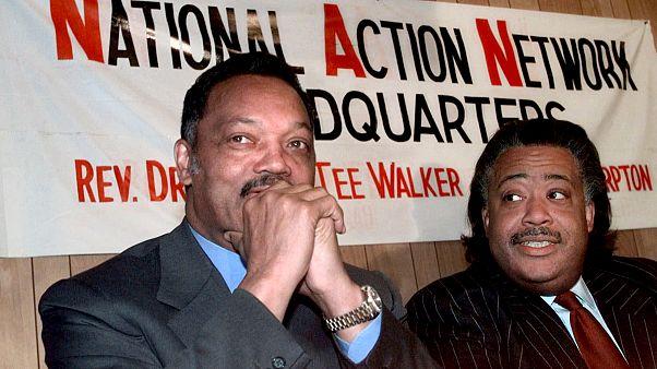 Image: Rev. Jesse Jackson and Rev. Al Sharpton attend a press conference at