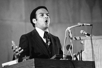 Andrew Young, United States Ambassador to the United Nations, speaks from the pulpit to the Olivet Institutional Baptist Church in Ohio on Nov. 28, 1977.