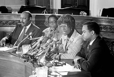 Members of the Congressional Black Caucus, including Rep. Shirley Chisolm and Rep. Cardiss Collins, announce their support of Sen. Ted Kennedy for president on March 6, 1980.